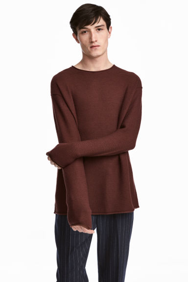 Textured-knit jumper - Dark brown - Men | H&M CN