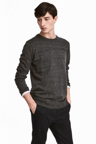 Fine-knit cotton jumper - Black marl - Men | H&M