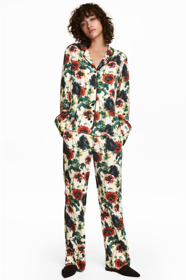Wide pull-on trousers - Natural white/Floral - Ladies | H&M CN