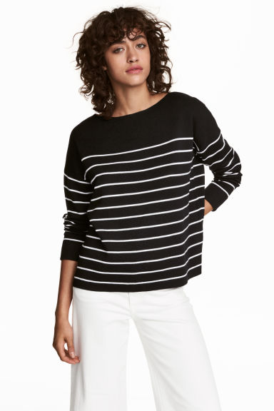 Knitted wool-blend jumper - Black/White striped - Ladies | H&M