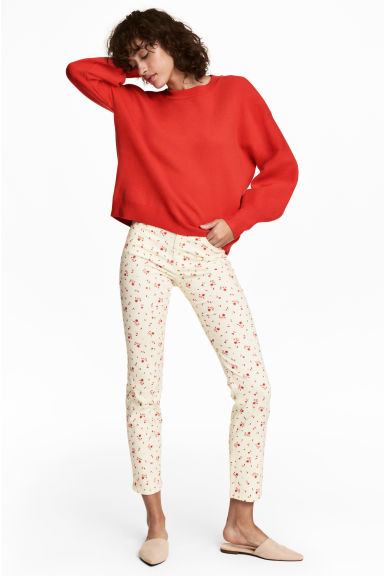 Ankle-length stretch trousers - White/Floral -  | H&M CN