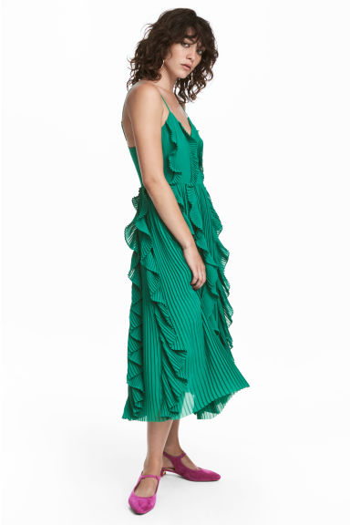 Pleated dress - Green -  | H&M CN