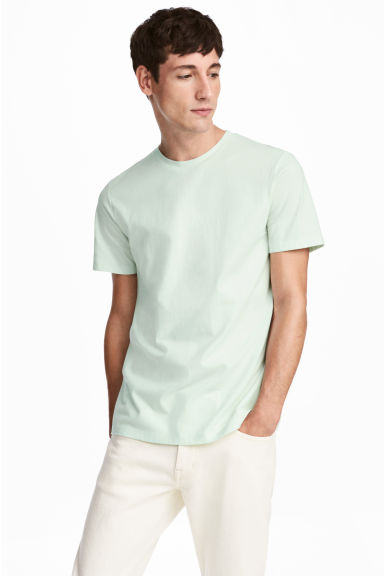 Cotton and silk T-shirt - Light green -  | H&M