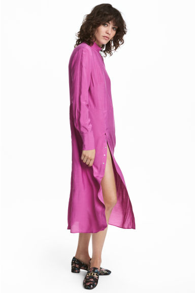 Dress with a stand-up collar - Dark pink - Ladies | H&M