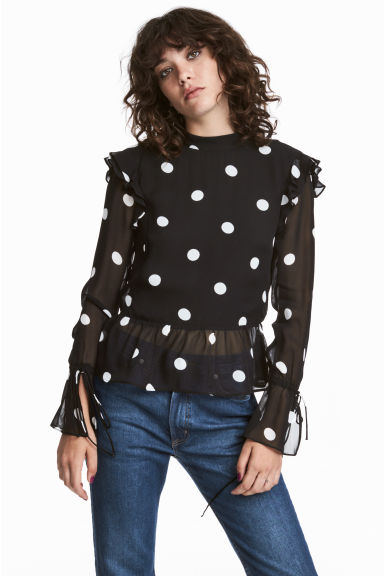 Flounced blouse - Black/White spotted -  | H&M