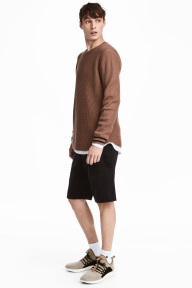 Knee-length corduroy shorts - Black - Men | H&M CN