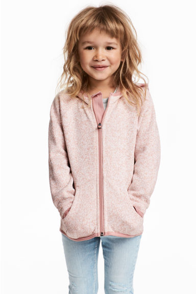 Knitted fleece jacket - Pink marl -  | H&M CN