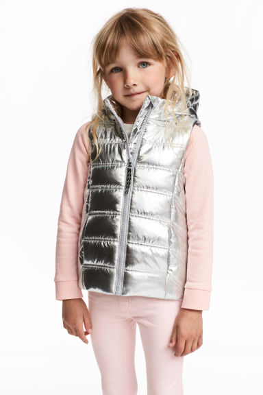 Padded Vest with Hood - Silver-colored - Kids | H&M CA