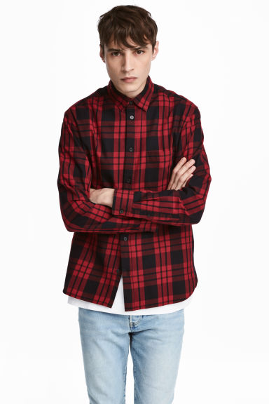 Cotton shirt Regular fit - Red/Black checked - Men | H&M CN