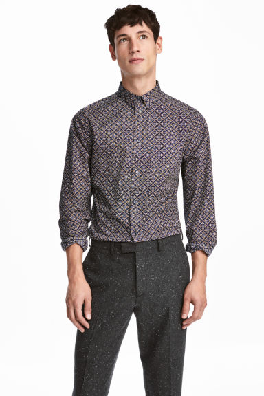 Premium cotton shirt - Dark blue/Patterned - Men | H&M CN