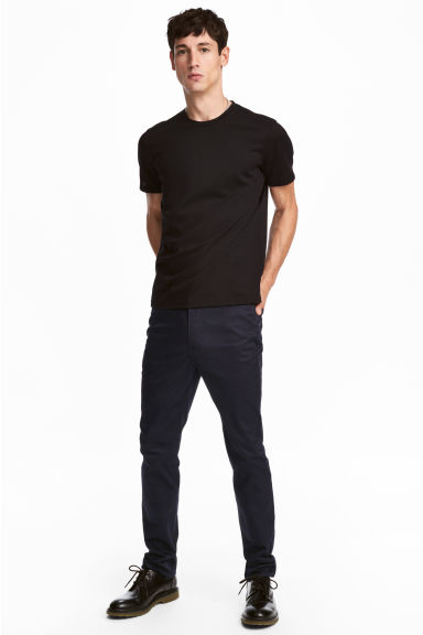 Premium cotton twill trousers - Dark blue - Men | H&M GB
