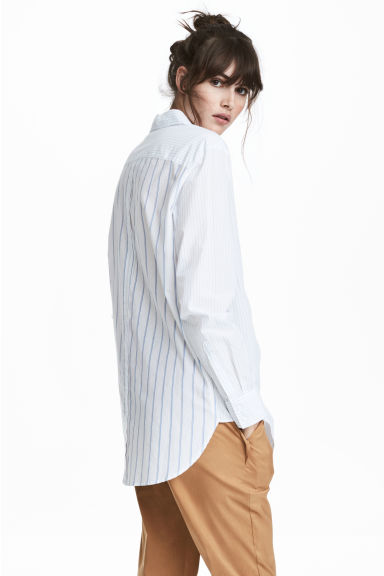 Cotton shirt - White/Blue striped -  | H&M