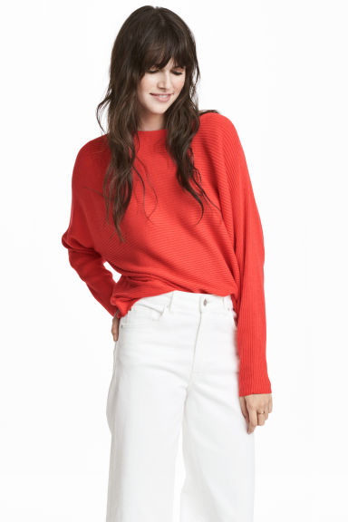 Cross-ribbed jumper - Coral red - Ladies | H&M CN