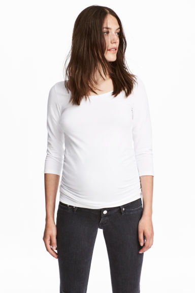 MAMA 平紋上衣 - White - Ladies | H&M