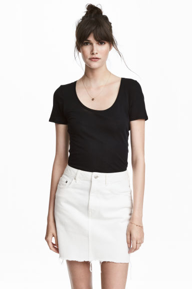Short-sleeved jersey top - Black - Ladies | H&M