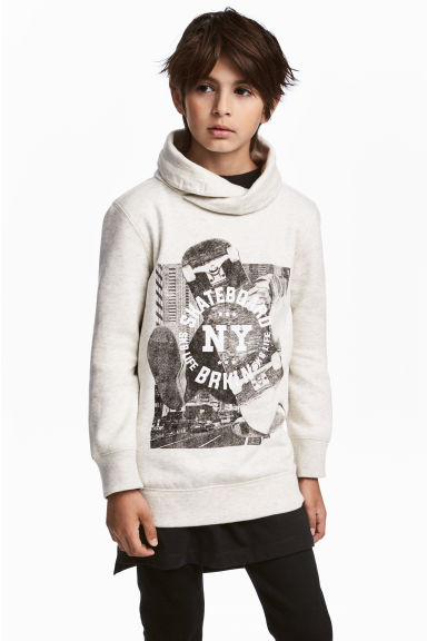 Funnel-collar sweatshirt - Light grey marl -  | H&M