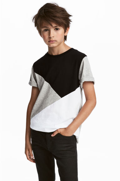 T-shirt color block - Gris chiné - ENFANT | H&M FR
