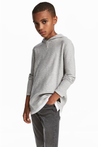 Fine-knit hooded jumper - Grey - Kids | H&M CN