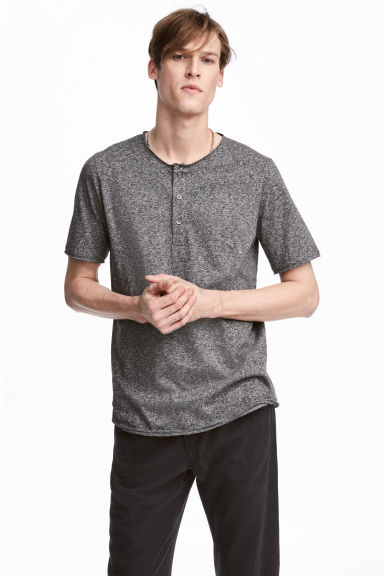 T-shirt with buttons - Dark grey marl - Men | H&M CN