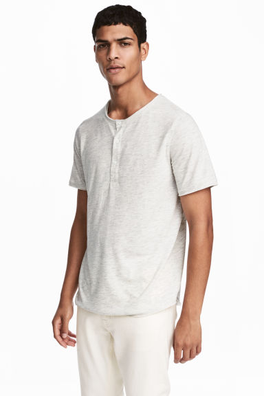 T-shirt with buttons - Light grey marl -  | H&M