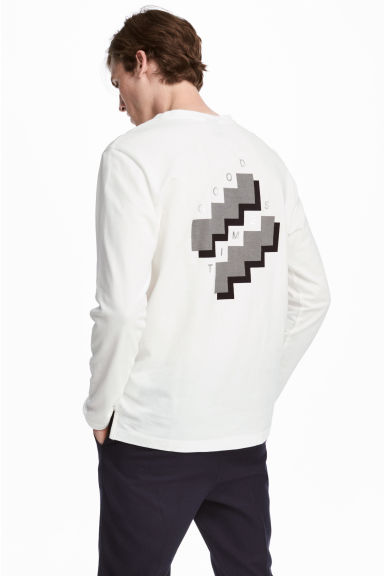 Cotton jersey top - White - Men | H&M