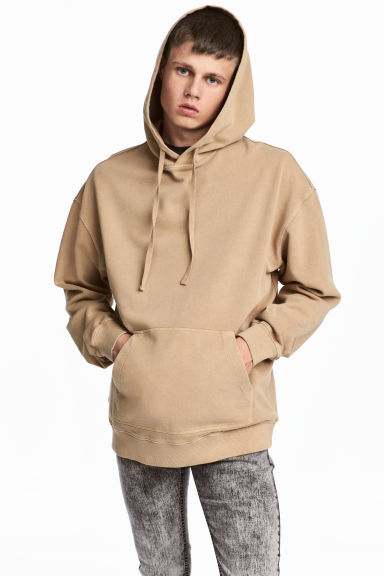 Washed hooded top - Beige -  | H&M