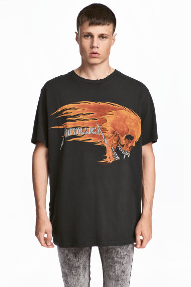 Cotton jersey T-shirt - Black/Metallica - Men | H&M