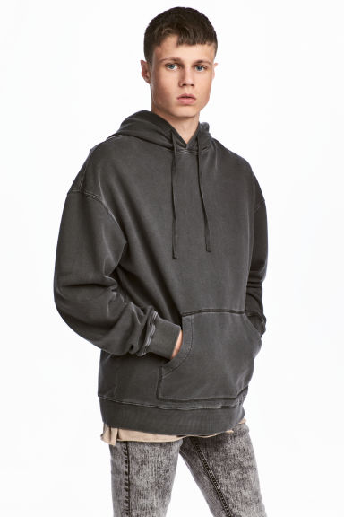 Washed hooded top - Dark grey - Men | H&M