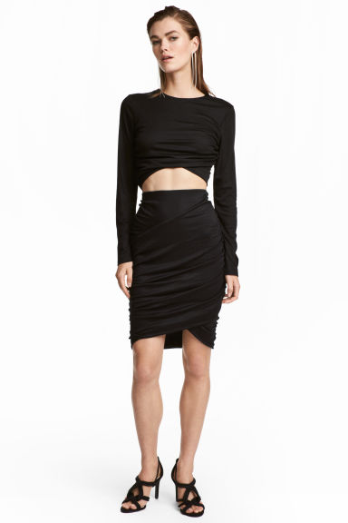Draped skirt - Black - Ladies | H&M