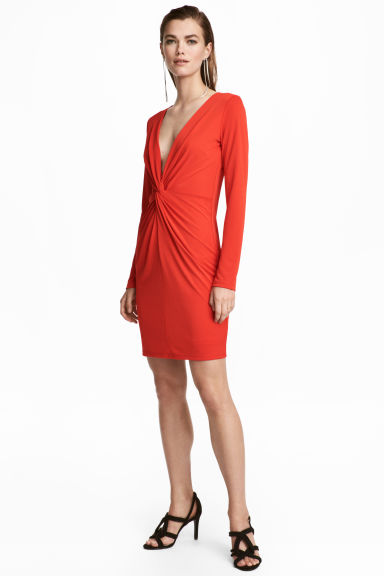 Fitted dress - Red -  | H&M