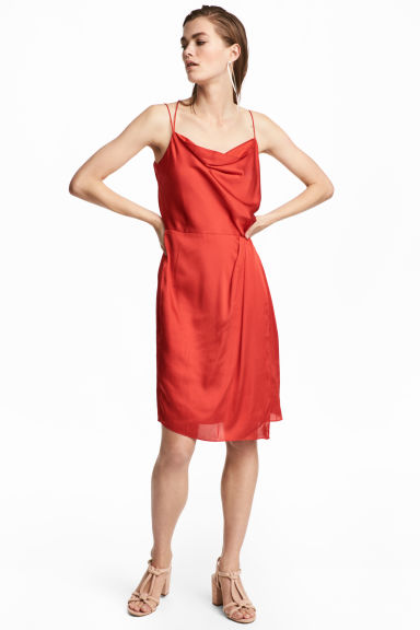 Draped satin dress - Bright red - Ladies | H&M