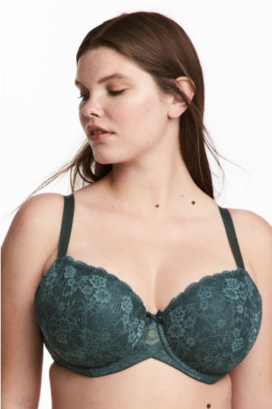Padded underwired bra E/F cup - Dark green -  | H&M