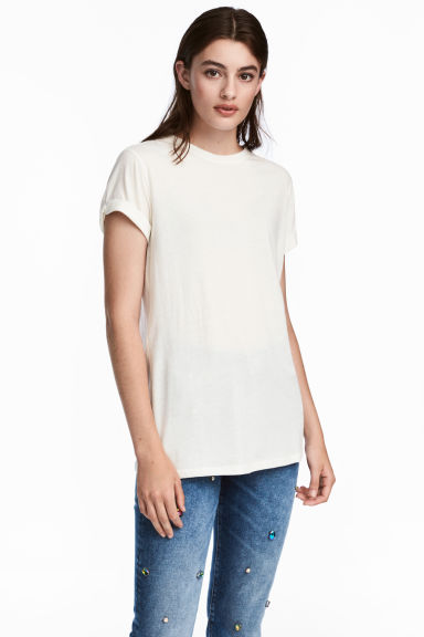 Tricot T-shirt - Gebroken wit -  | H&M BE