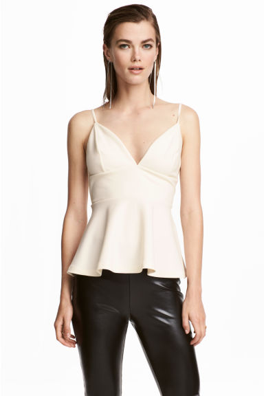 Crêpe top - Natural white -  | H&M CN