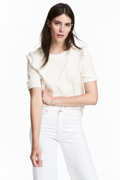 Wide top - Natural white - Ladies | H&M CN
