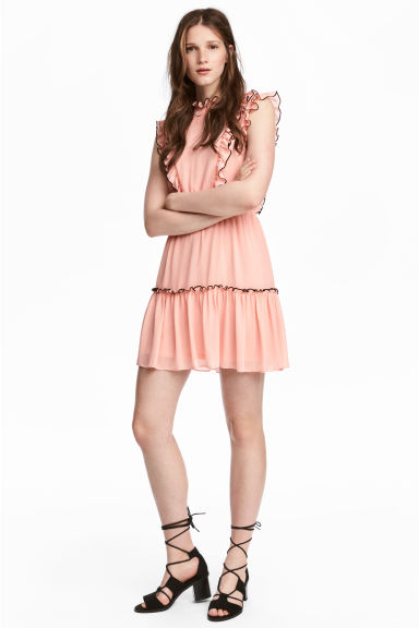 Chiffon dress with frills - Apricot - Ladies | H&M CN