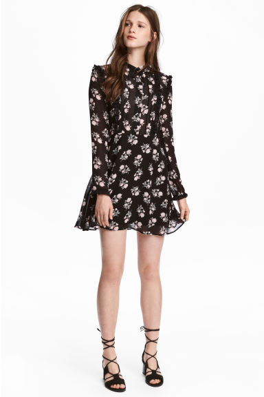 Chiffon dress with frills - Black/Floral - Ladies | H&M IE