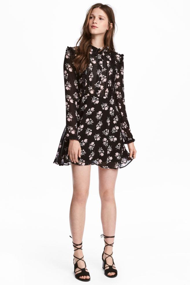 ef504ff0732753 Chiffon jurk met volantrandjes - Zwart bloemen - DAMES