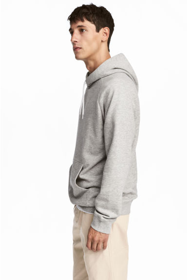 Hooded top with raglan sleeves - Grey - Men | H&M