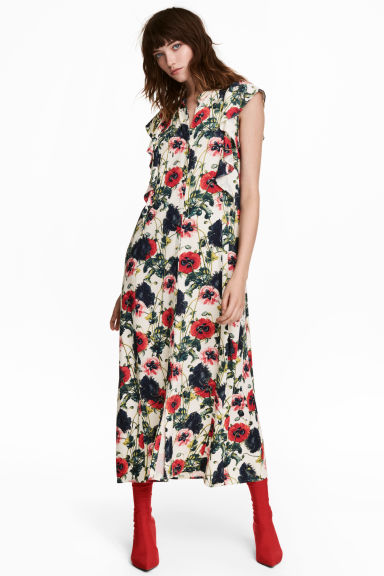Patterned dress - Natural white/Floral - Ladies | H&M GB