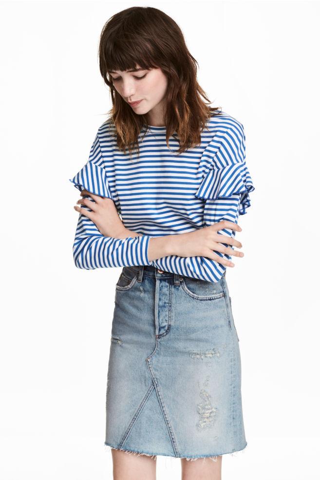 5049c6d31e93 Jersey top with flounces - Blue White striped - Ladies