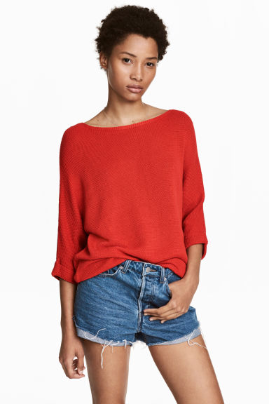 Purl-knit jumper - Red - Ladies | H&M
