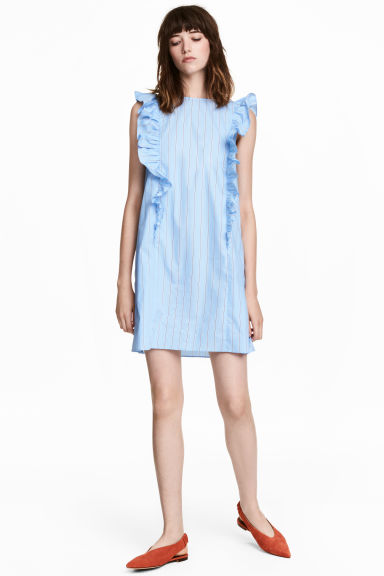 Frilled dress - Light blue/Striped -  | H&M