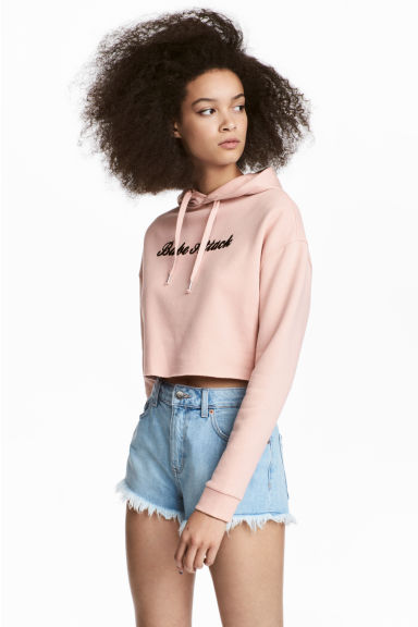 Cropped hooded top - Powder pink - Ladies | H&M