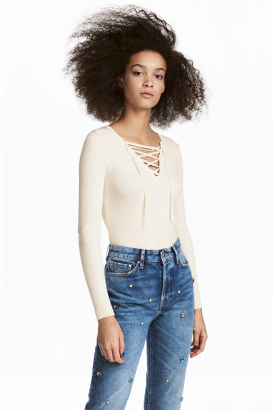 Top with lacing - Natural white -  | H&M
