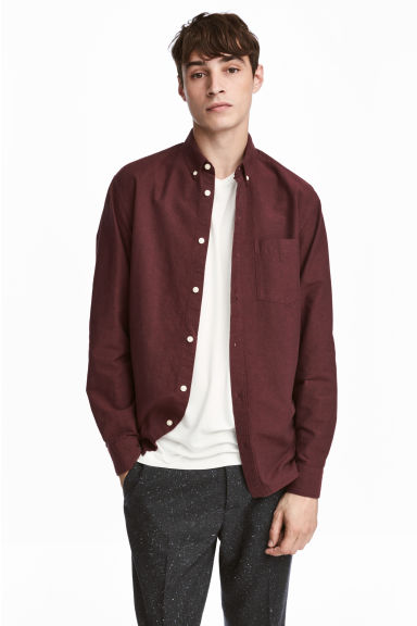 Chemise Oxford Regular fit - Rouge foncé -  | H&M BE