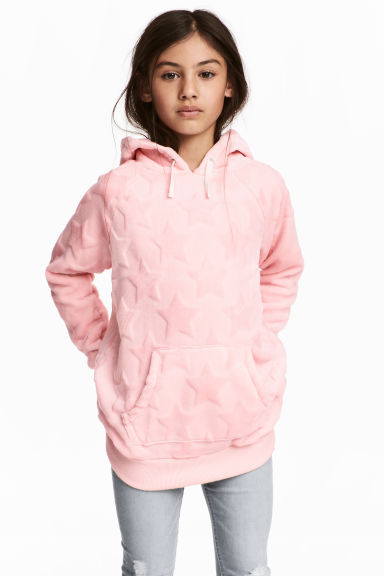 Sweat à capuche en velours - Rose clair -  | H&M FR