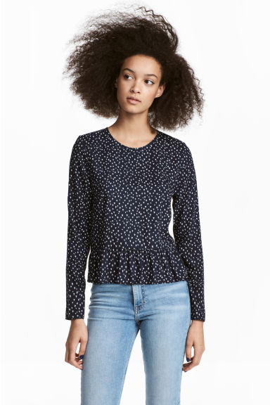 Blouse with a flounced hem - Dark blue/Hearts - Ladies | H&M CN