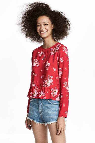 Blouse with a flounced hem - Red/Floral -  | H&M