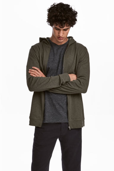 Slub jersey hooded jacket - Khaki green -  | H&M